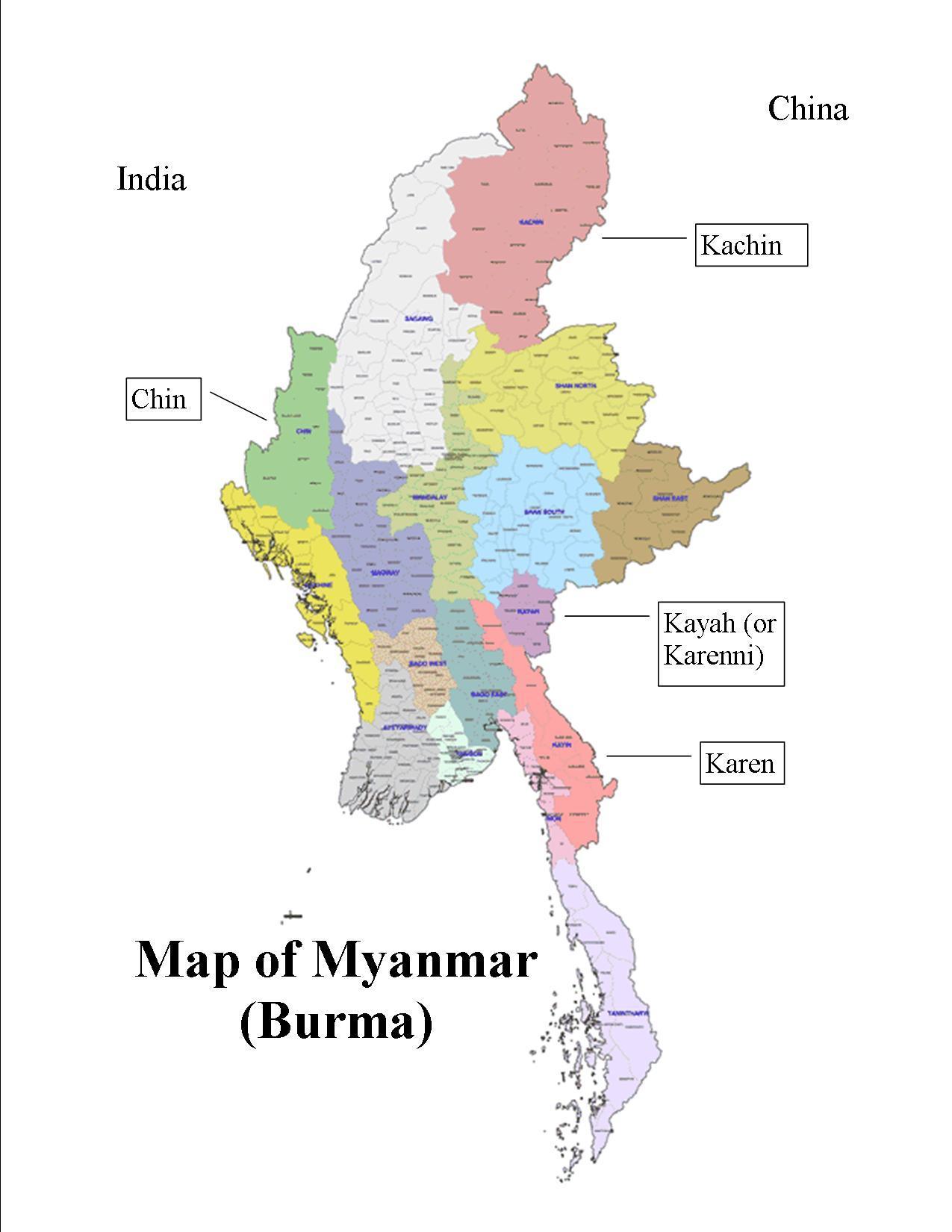 kart og bilder Burma kart stater   Myanmar kart og stater bilder (Sør Øst Asia  kart og bilder