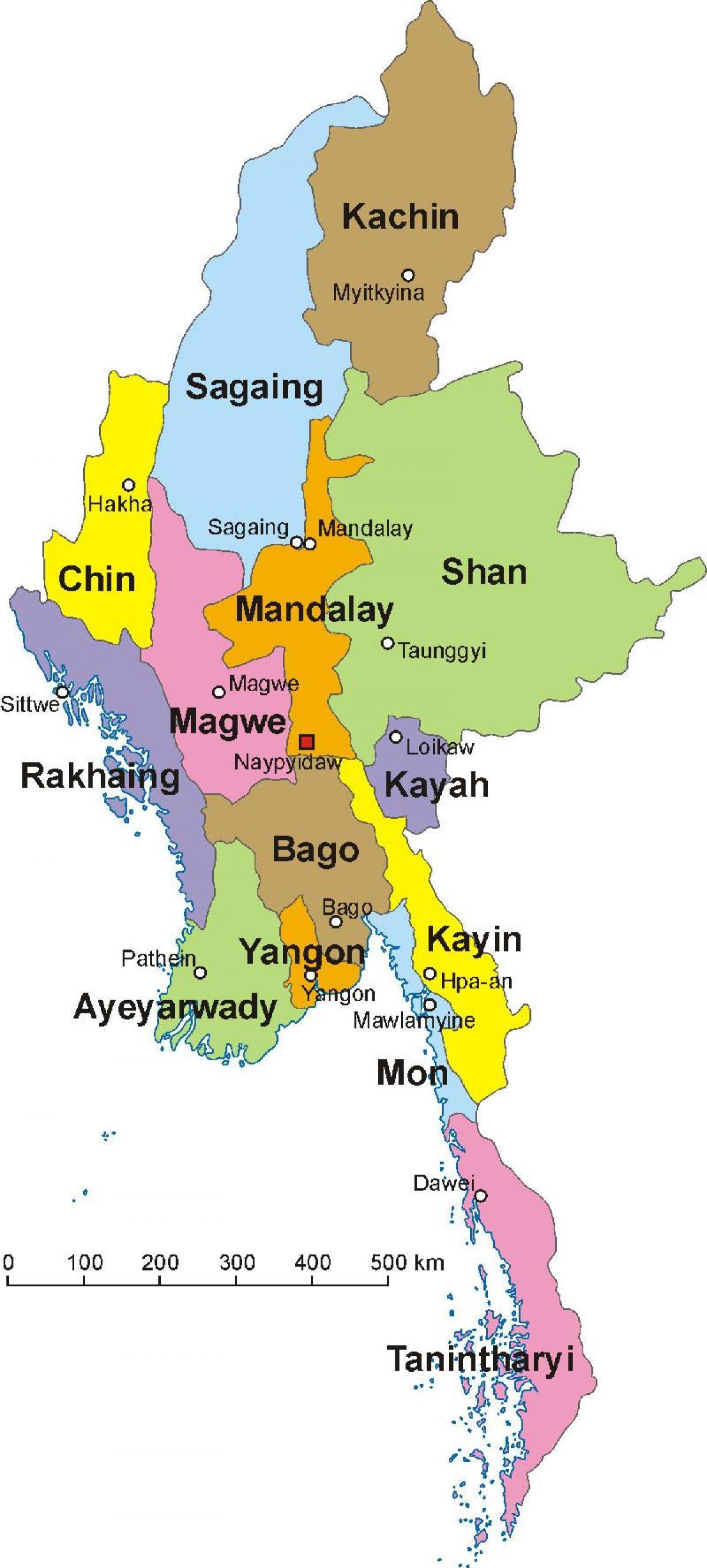 Burma Kart Myanmar Kart Bilde Sor Ost Asia Asia