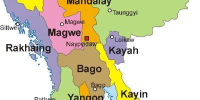 Myanmar Burma Kart Kart Myanmar Burma Sor Ost Asia Asia